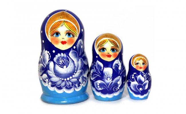 Flores Azul - 3 Bonecas