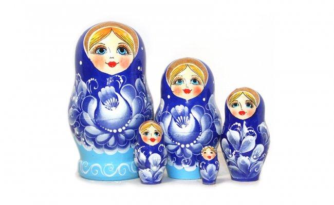 Flores Azul - 5 Bonecas