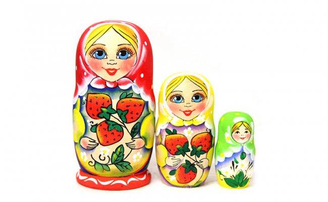 Bebê Morango Colorida - 3 Bonecas